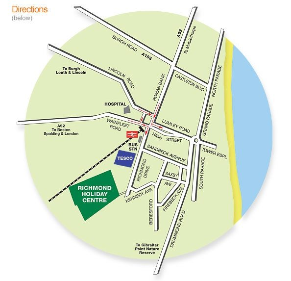 Local map to Richmond Holiday Centre in Skegness