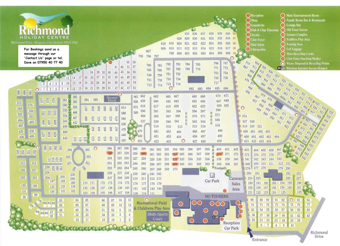 Richmond Caravan Holiday Park - Map of mobile homes