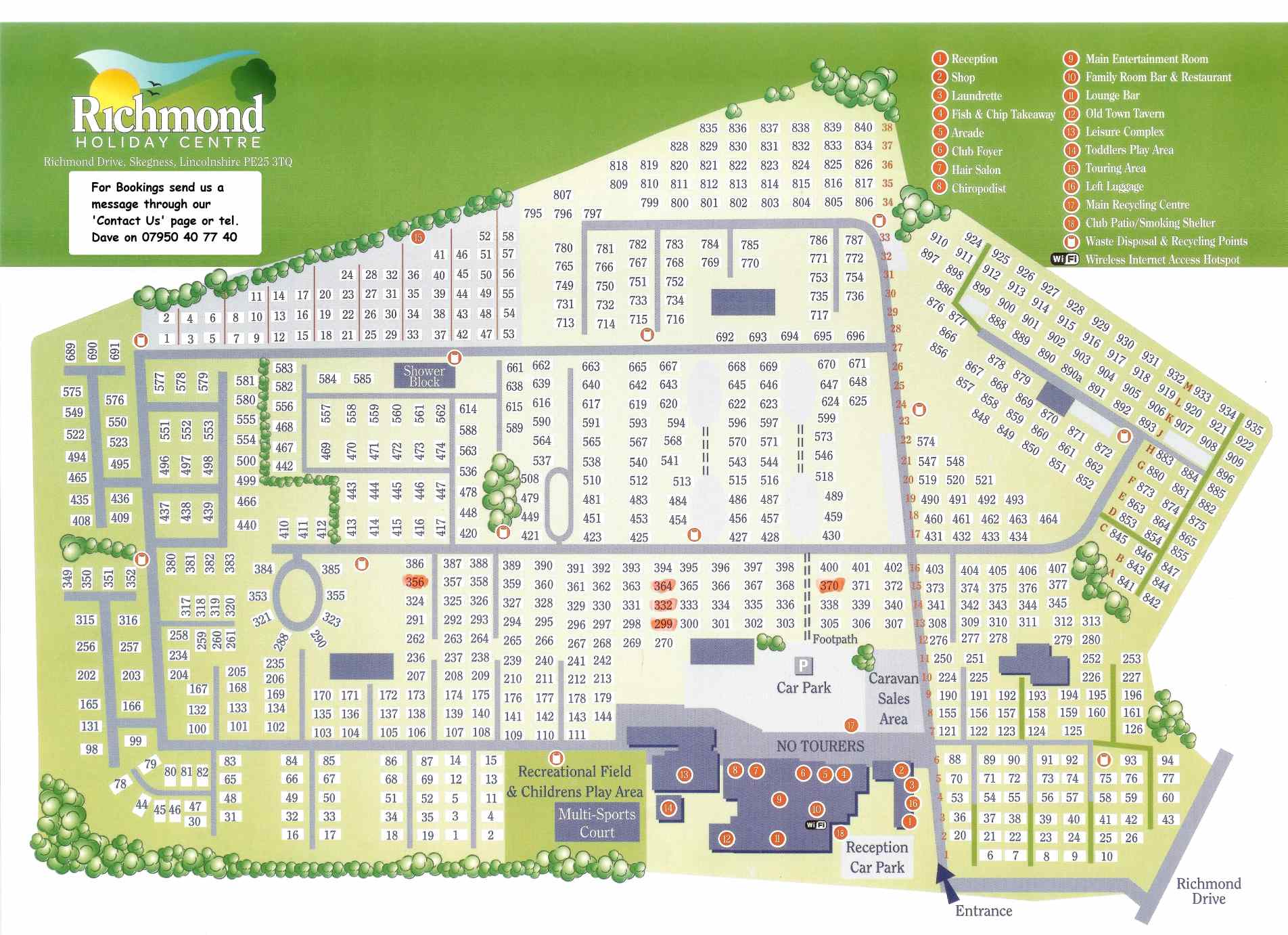 map of our caravans for hire at the Richmond Holiday Centre in Skegness