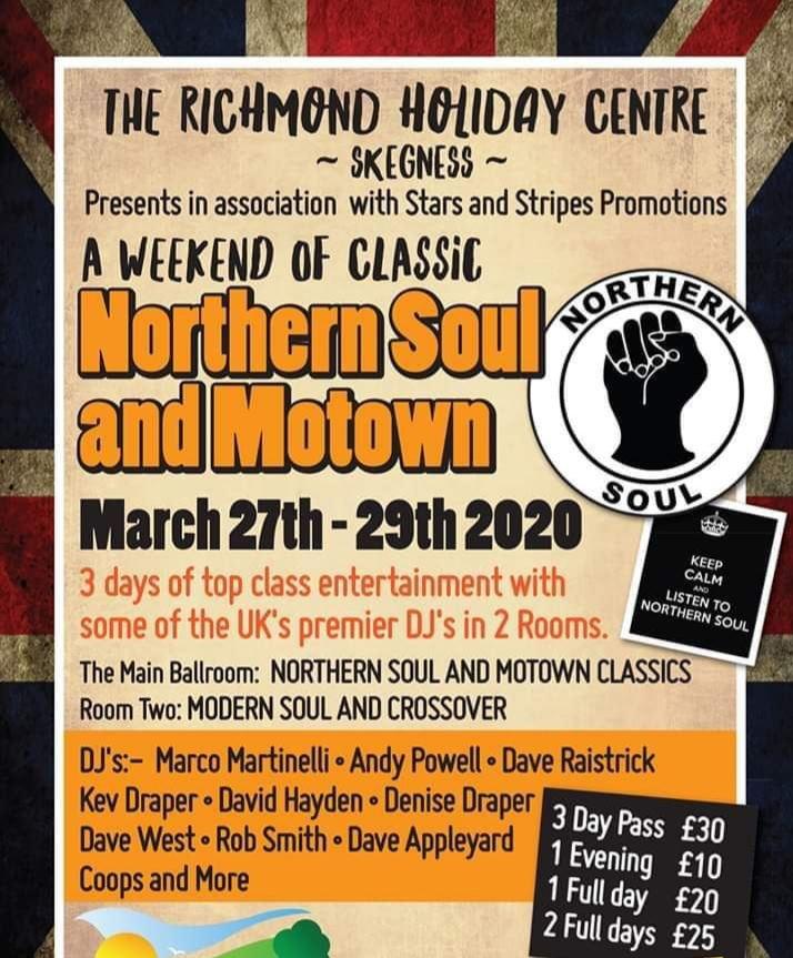 Flyer for Northern Soul and Motown Weekend 2020 Skegness Caravan Holiday Park